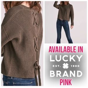 Lucky Brand Pink Sweater w/ Grommet Lace Up Back